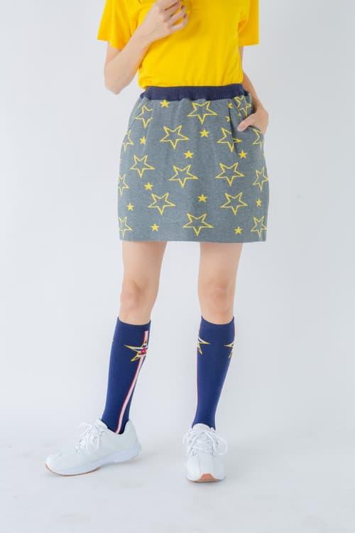 星柄インターシャコクーンニットスカート