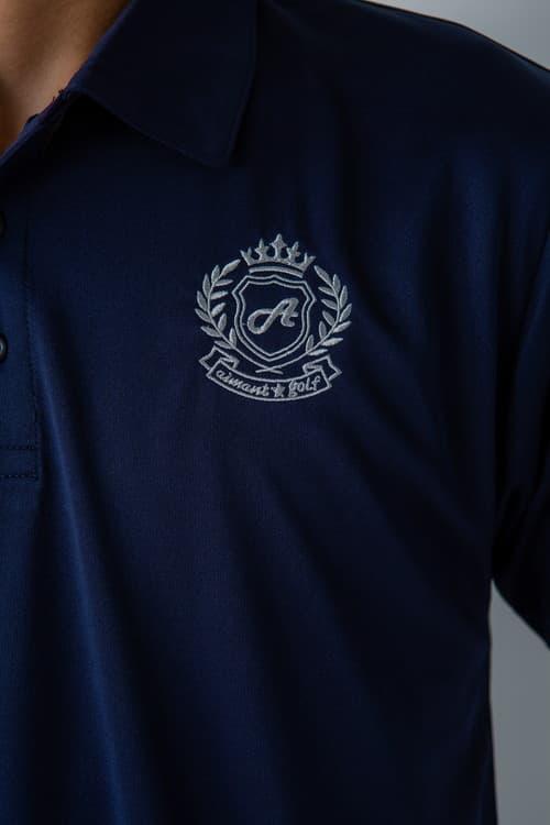 エンブレム刺繡ドライシルキータッチポロシャツ