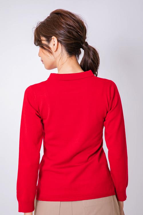「AIMANT」刺繍襟付ニットプルオーバー