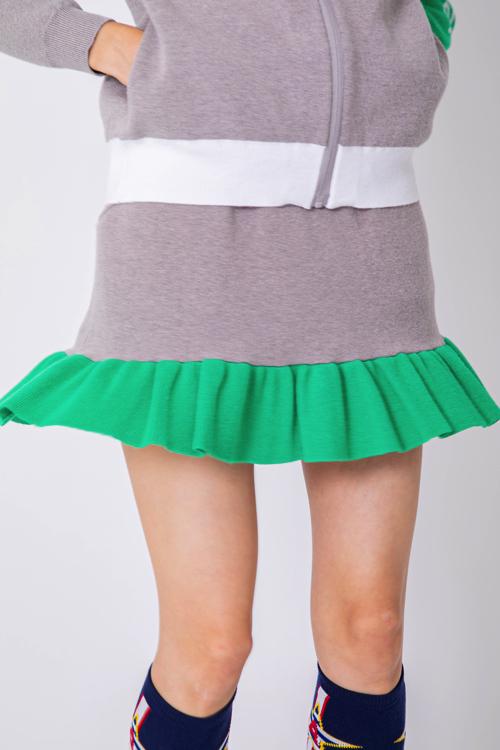 インナー付ダブルフェイス配色ニットスカート