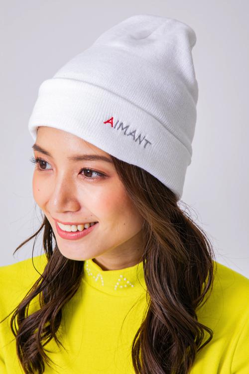「AIMANT」刺繍ダブルワッチリブニット帽