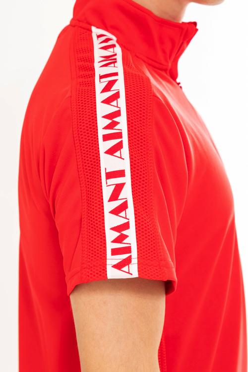 ロゴラインハイネックメッシュポロシャツ(MEN)