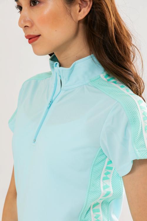 ロゴラインハイネックメッシュポロシャツ(WOMEN)