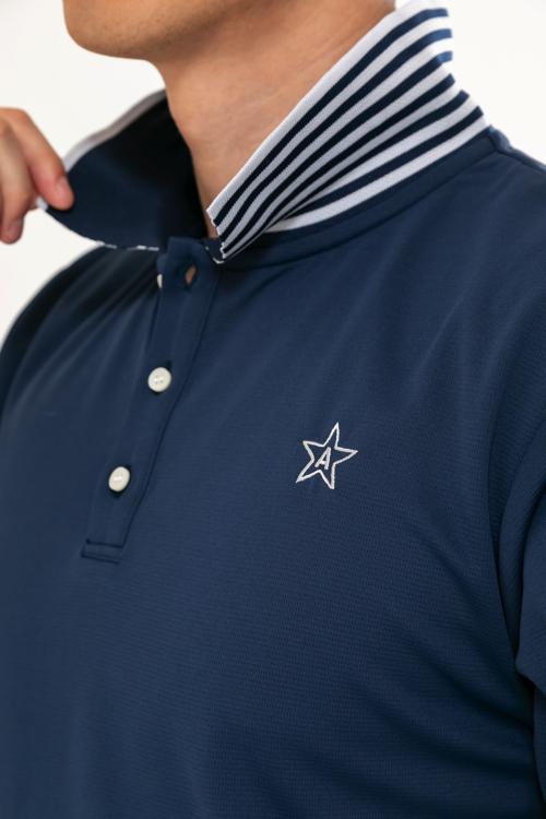 立て襟ボーダーニットポロシャツ(MEN)