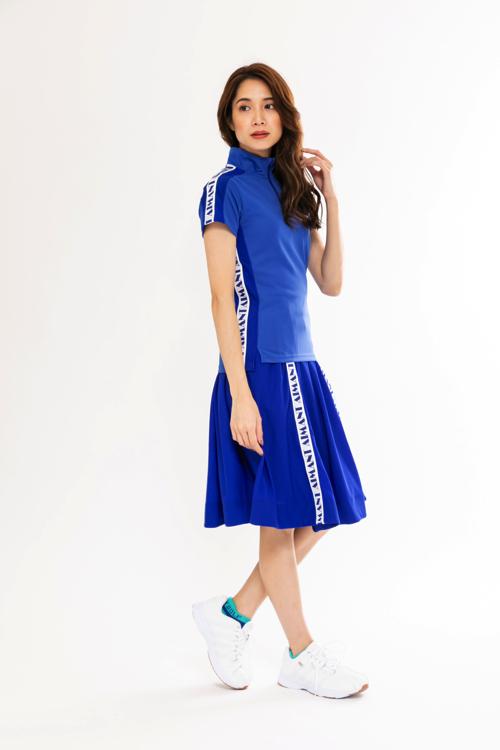 ロゴラインメッシュフレアスカート