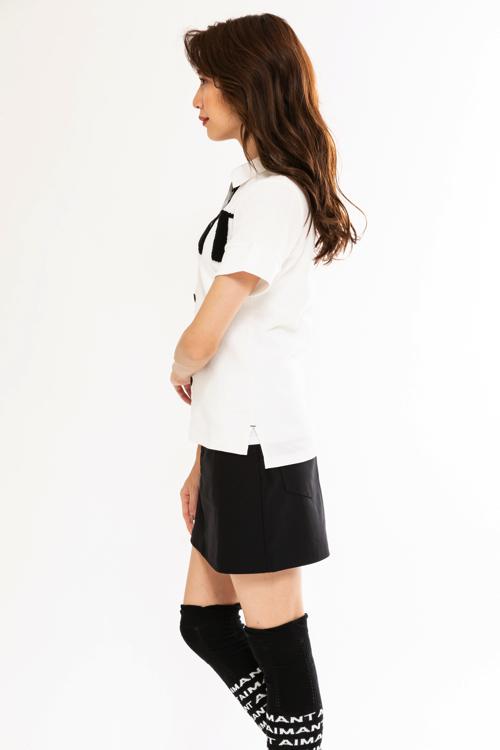 サガラ刺繍ワッフルポロシャツ(WOMEN)