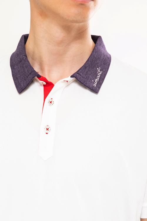 デニムライク襟配色ポロシャツ(MEN)