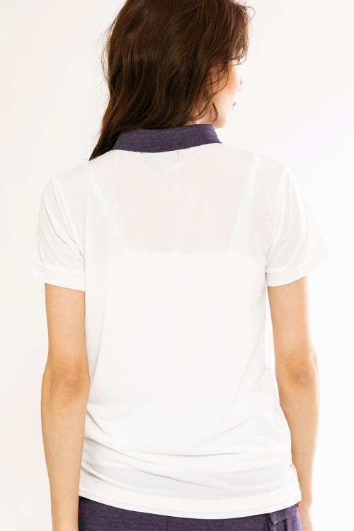 デニムライク襟配色ポロシャツ(WOMEN)
