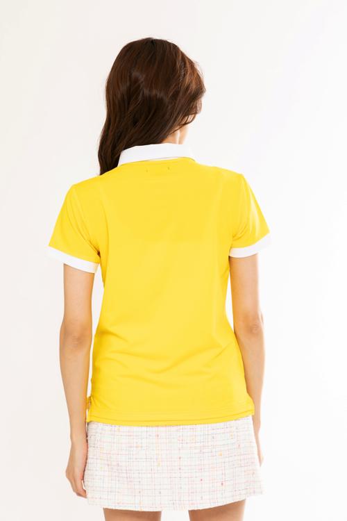 襟ビジュー配色ポロシャツ