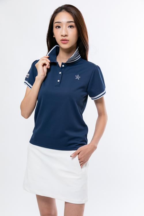 立て襟ボーダーニットポロシャツ(WOMEN)