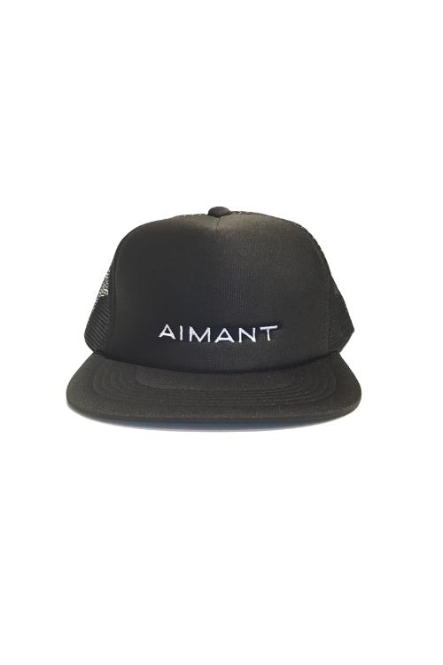 「AIMANT」ロゴ刺繍フラットバイザーメッシュキャップ(UNISEX)
