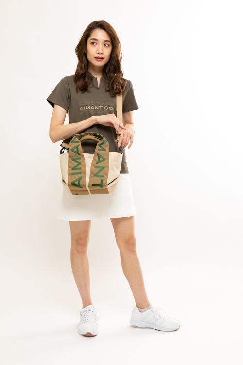 ショルダーストラップ付き持ち手ロゴ2WAYカートバッグ